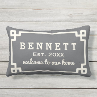 Personalized Welcome Pillow | Charcoal Gray