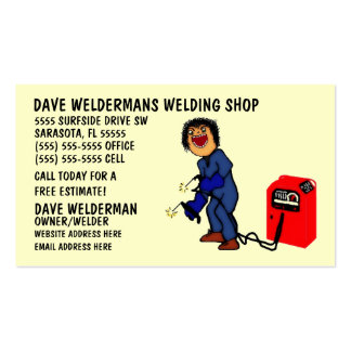 Personalized Welder Cartoon Business Card
