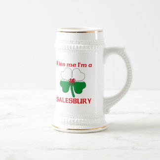 Personalized Welsh Kiss Me I'm Salesbury 18 Oz Beer Stein