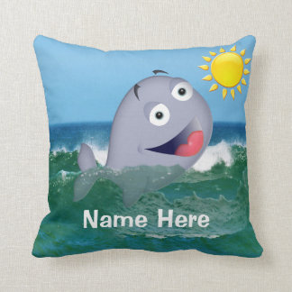 Personalized Whale Nursery Decor with Baby's Name Throw Pillow