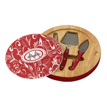 Personalized whimsical floral leaves in red round cheeseboard