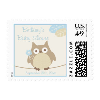 Personalized Whimsical Owl Boy Baby Shower Postage