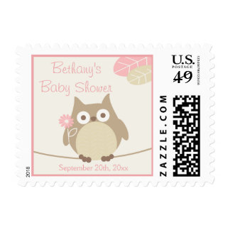 Personalized Whimsical Owl Girl Baby Shower Stamp