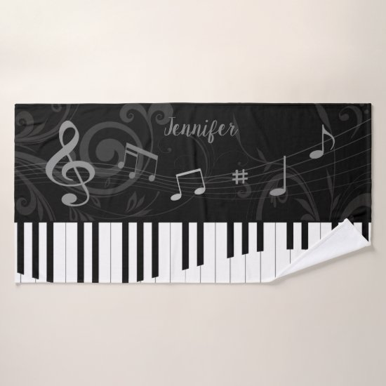 Personalized Whimsical Piano and Musical Notes Bath Towel Set
