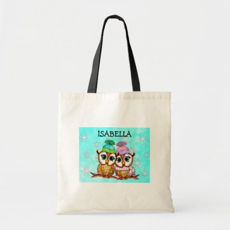Personalized Whimsical Watercolor Owls Tote Bag