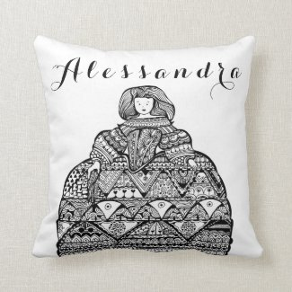 Throw Pillow Home Is Where The Doodle Is : Personalized Doll Doodle art Through my brush
