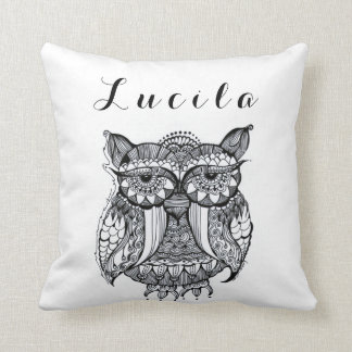 Personalized Whimsy Owl Doodle art Throw Pillow