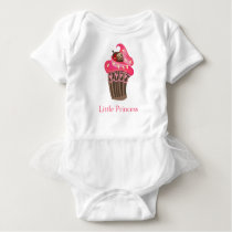 Personalized Whimsy Pink Cupcake Baby Bodysuit