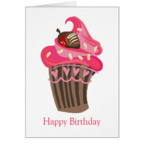 Personalized Whimsy Pink Cupcake card