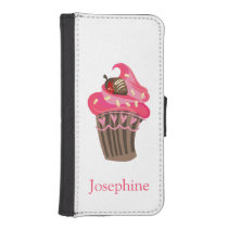 Personalized Whimsy Pink Cupcake iPhone SE/5/5s Wallet Case