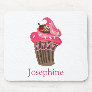 Personalized Whimsy Pink Cupcake Mouse Pad