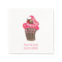 Personalized Whimsy Pink Cupcake paper napkin