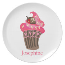 Personalized Whimsy Pink Cupcake Plate
