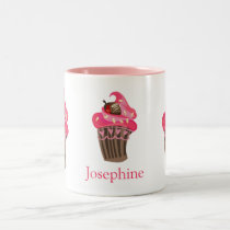 Personalized Whimsy Pink Cupcake Two-Tone Coffee Mug