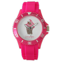 Personalized Whimsy Pink Cupcake Wrist Watches