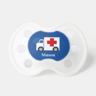 Personalized | White Ambulance with Medical Cross Pacifier
