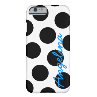 Personalized White and Black Polka Dot Barely There iPhone 6 Case