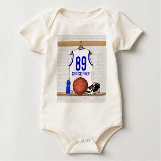 Personalized White and Blue Basketball Jersey Baby Bodysuit