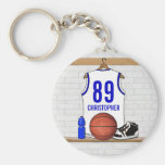 Personalized White and Blue Basketball Jersey Basic Round Button Keychain