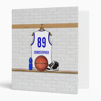 Personalized White and Blue Basketball Jersey Binder