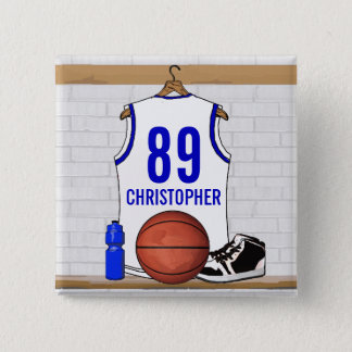 Personalized White and Blue Basketball Jersey Button
