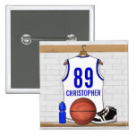 Personalized White and Blue Basketball Jersey 2 Inch Square Button