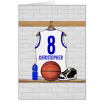 Personalized White and Blue Basketball Jersey Greeting Card
