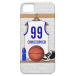Personalized White and Blue Basketball Jersey iPhone 5 Case