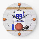 Personalized White and Blue Basketball Jersey Clock