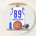 Personalized White and Blue Basketball Jersey Beverage Coasters