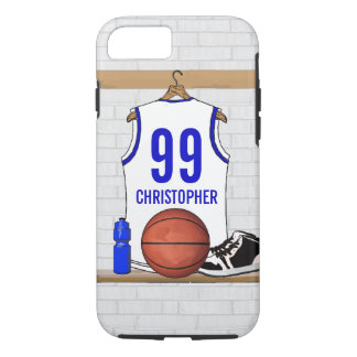 Personalized White and Blue Basketball Jersey iPhone 7 Case