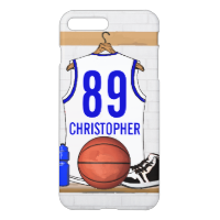 Personalized White and Blue Basketball Jersey iPhone 7 Plus Case