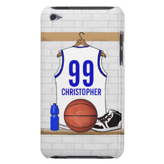 Personalized White and Blue Basketball Jersey iPod Touch Case-Mate Case
