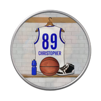 Personalized White and Blue Basketball Jersey Jelly Belly Tins