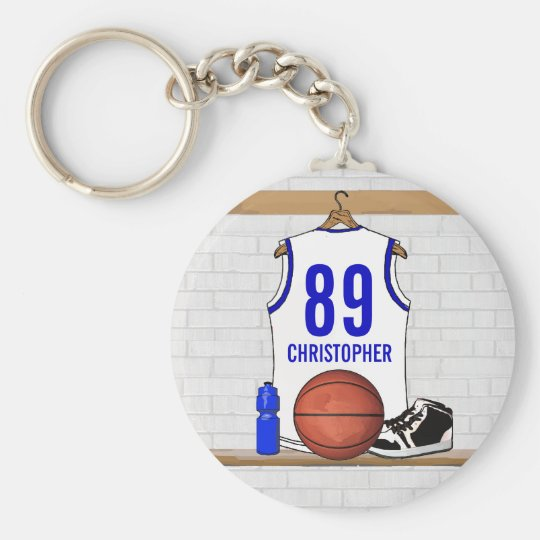 Personalized White and Blue Basketball Jersey Keychain