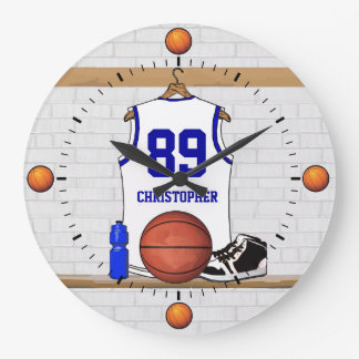 Personalized White and Blue Basketball Jersey Large Clock