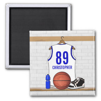 Personalized White and Blue Basketball Jersey Fridge Magnets