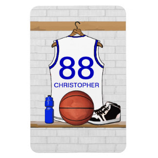 Personalized White and Blue Basketball Jersey Magnet