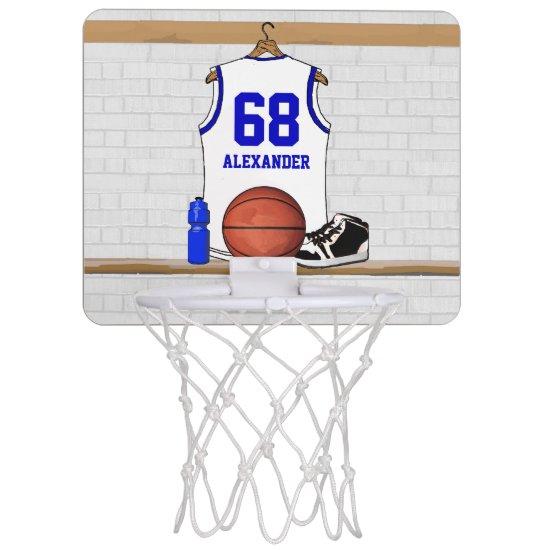 Personalized White and Blue Basketball Jersey Mini Basketball Backboard