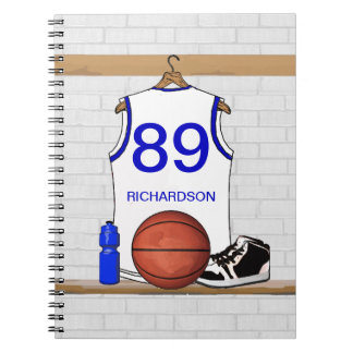 Personalized White and Blue Basketball Jersey Spiral Note Book