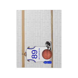 Personalized White and Blue Basketball Jersey Notepad
