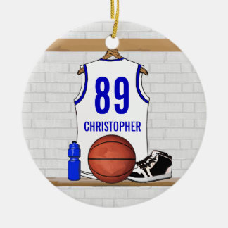 Personalized White and Blue Basketball Jersey Double-Sided Ceramic Round Christmas Ornament
