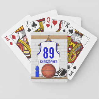 Personalized White and Blue Basketball Jersey Playing Cards