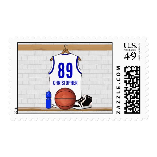 Personalized White and Blue Basketball Jersey Postage