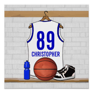 Personalized White and Blue Basketball Jersey Poster