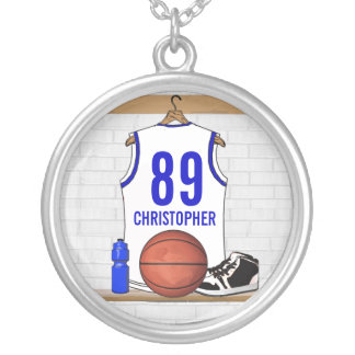 Personalized White and Blue Basketball Jersey Silver Plated Necklace
