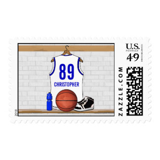 Personalized White and Blue Basketball Jersey Stamp