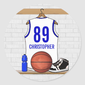 Personalized White and Blue Basketball Jersey Classic Round Sticker