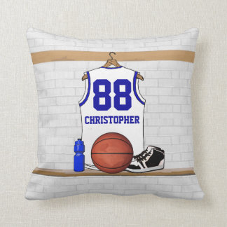 Personalized White and Blue Basketball Jersey Throw Pillow