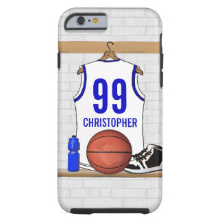 Personalized White and Blue Basketball Jersey Tough iPhone 6 Case